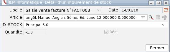 Affichage détaillé d'un mouvement de stock