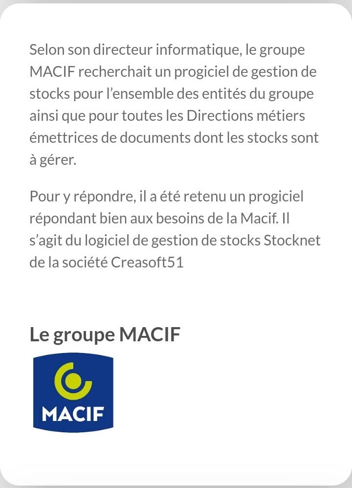 Avis du groupe MACIF, utilisateur de Stocknet