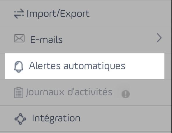 Activation des alertes automatiques
