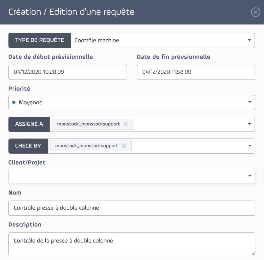 interface de requête ou intervention pour les agents de terrain pour monstock