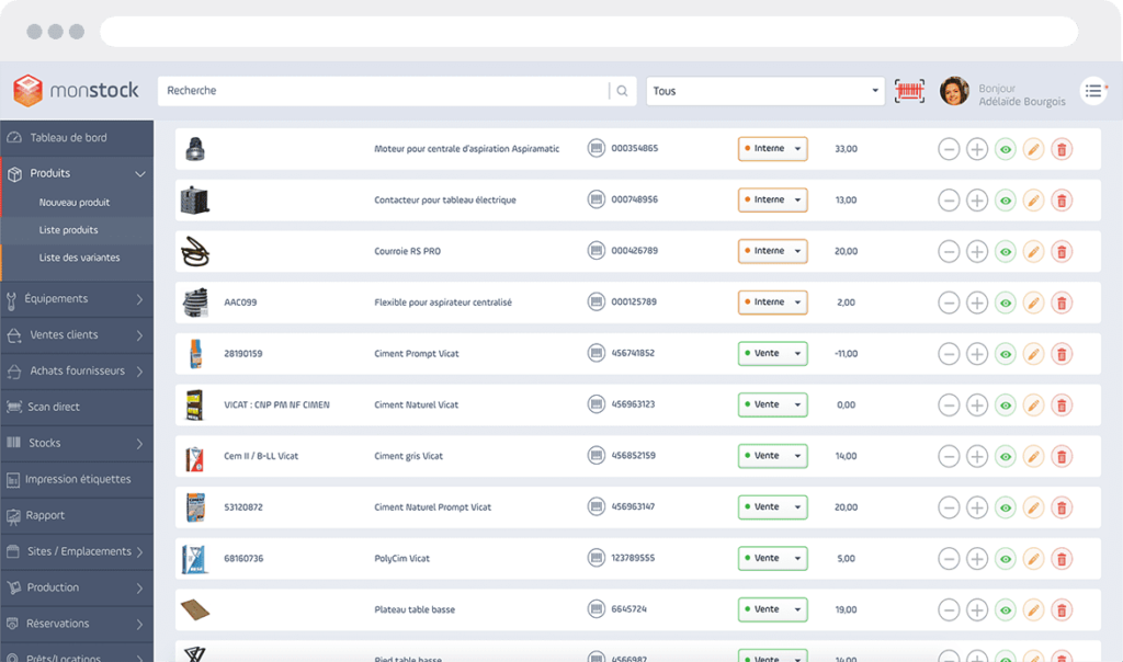 Interface gestion de stock produits Monstock Cloud
