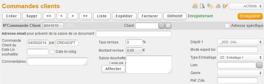 Aperçu de l'interface des commandes clients