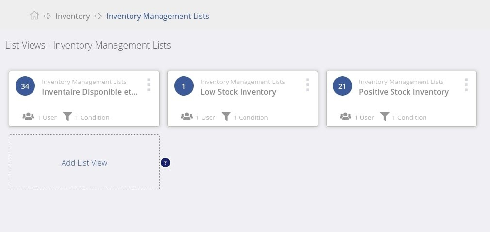 Cartes par défaut dans les listes de gestion d'inventaire megaventory