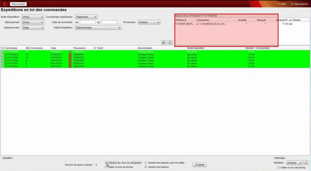 Expéditions en lots de commandes OpenSi