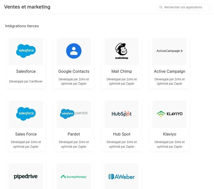 Intégrations marketing disponibles sur Zoho Inventory