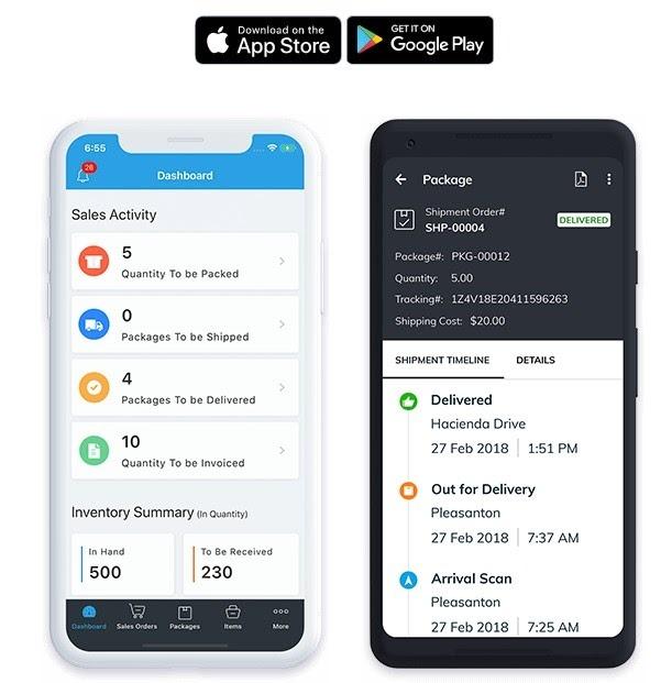 Interface mobile de Zoho Inventory