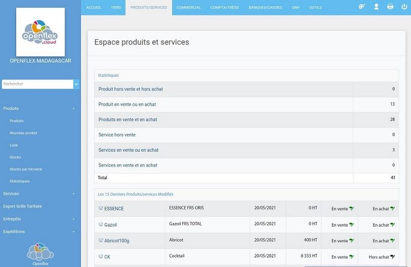 Rubrique Produits et Services openflex